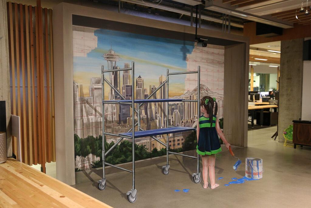 3D Mural Seattle by Leon Keer