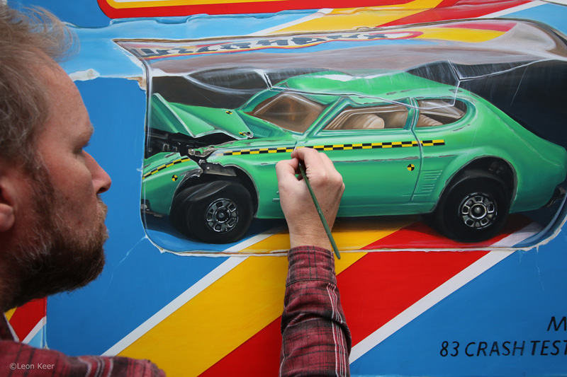 Crash car test painting by Leon Keer