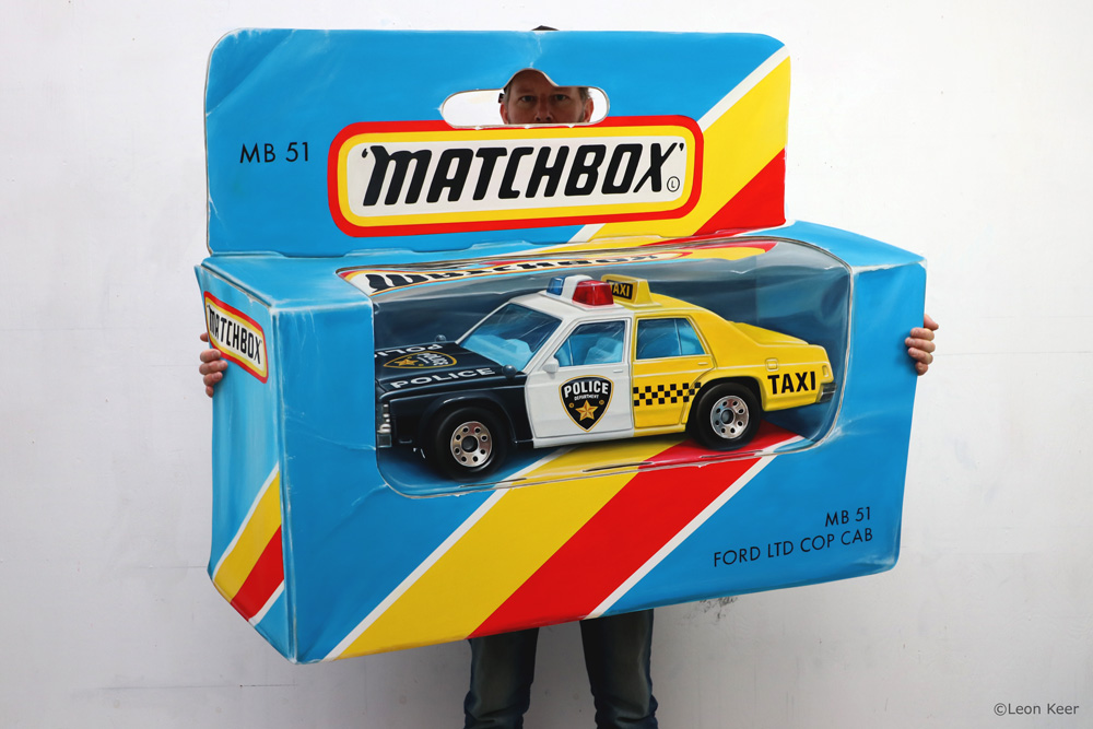 Matchbox Cop Cab Anamorphic painting by Leon Keer