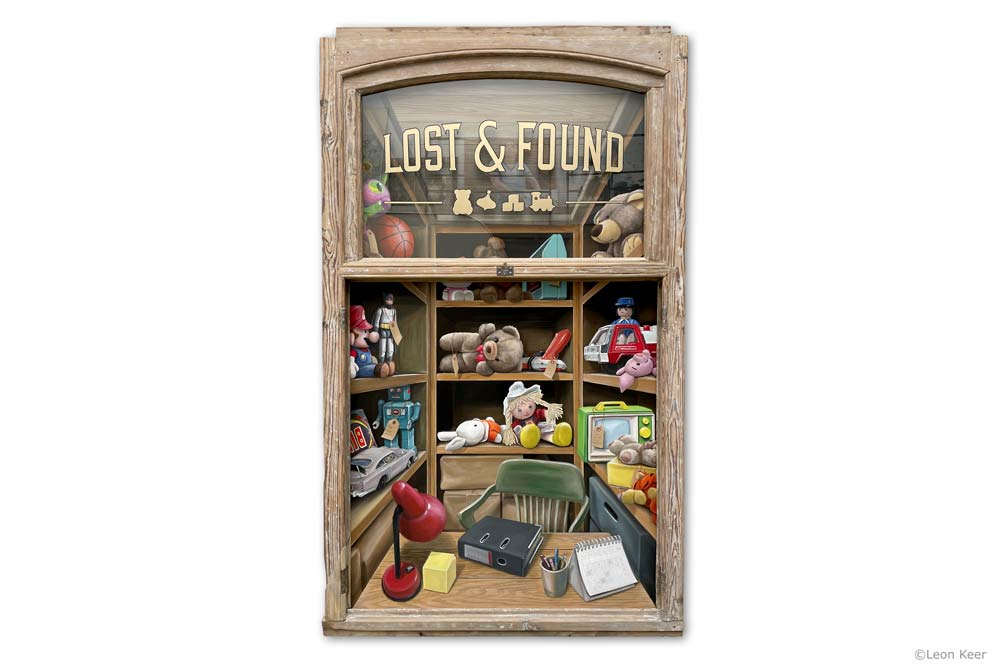 Lost and Found painting in window by Leon Keer