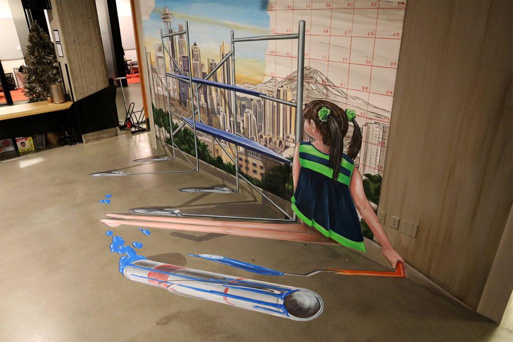 Anamorphic art Seattle by Leon Keer