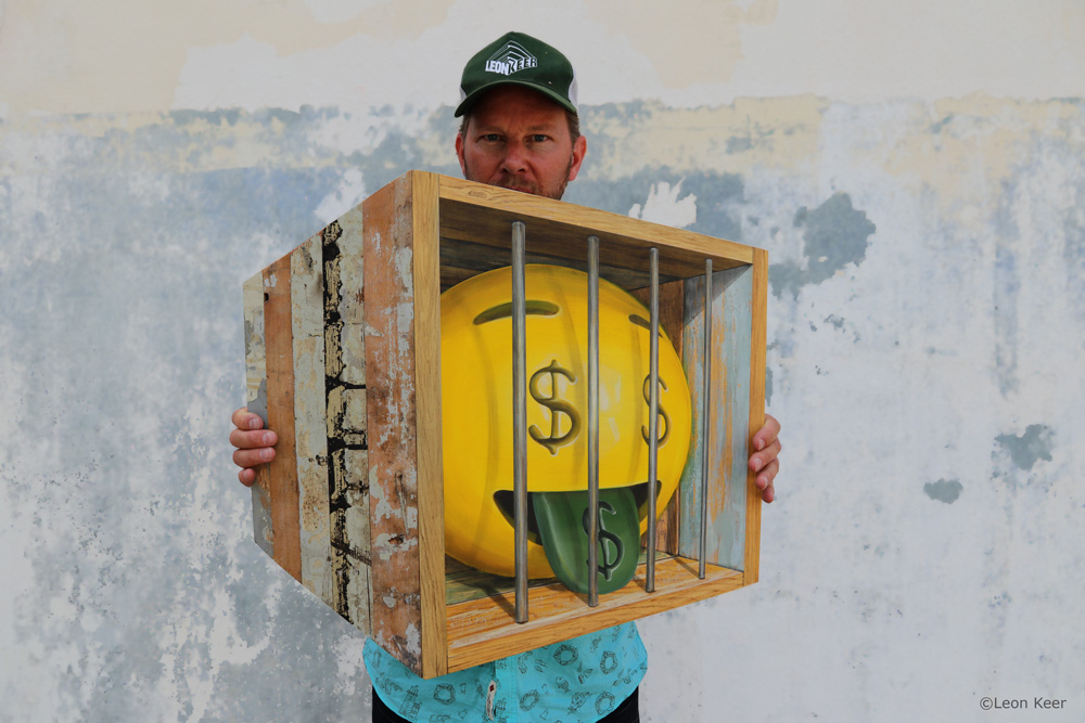 Guilty 3D painting by Leon Keer emoji money mouth