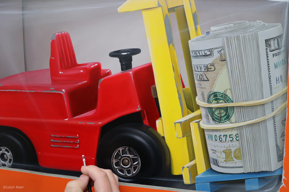 Cash cargo forklift truck painting by Leon Keer