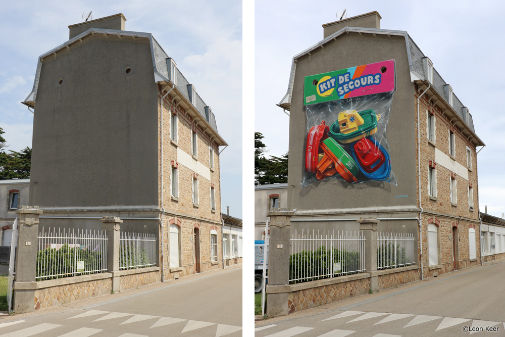 'Kit de secours' 3d mural by Leon Keer
