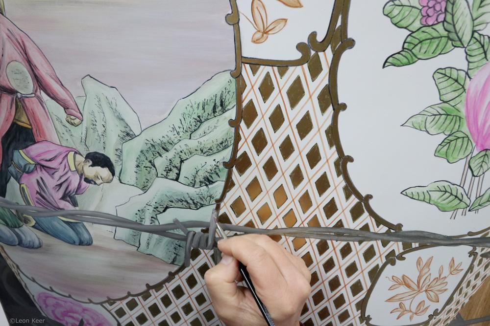 Leon Keer painting Apostates porcelain chinese vase