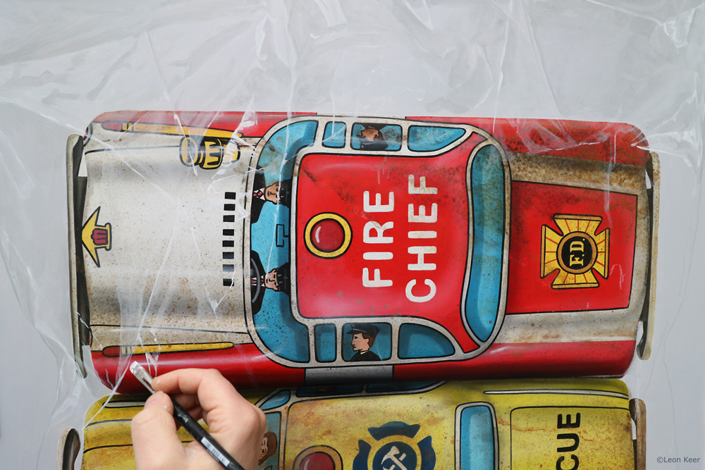 Rescue car set Hero toys painting by Leon Keer