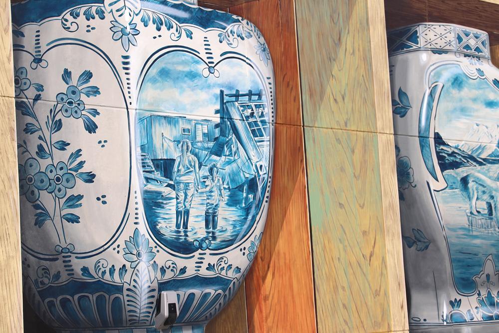 3d mural pottery delft blue leon keer
