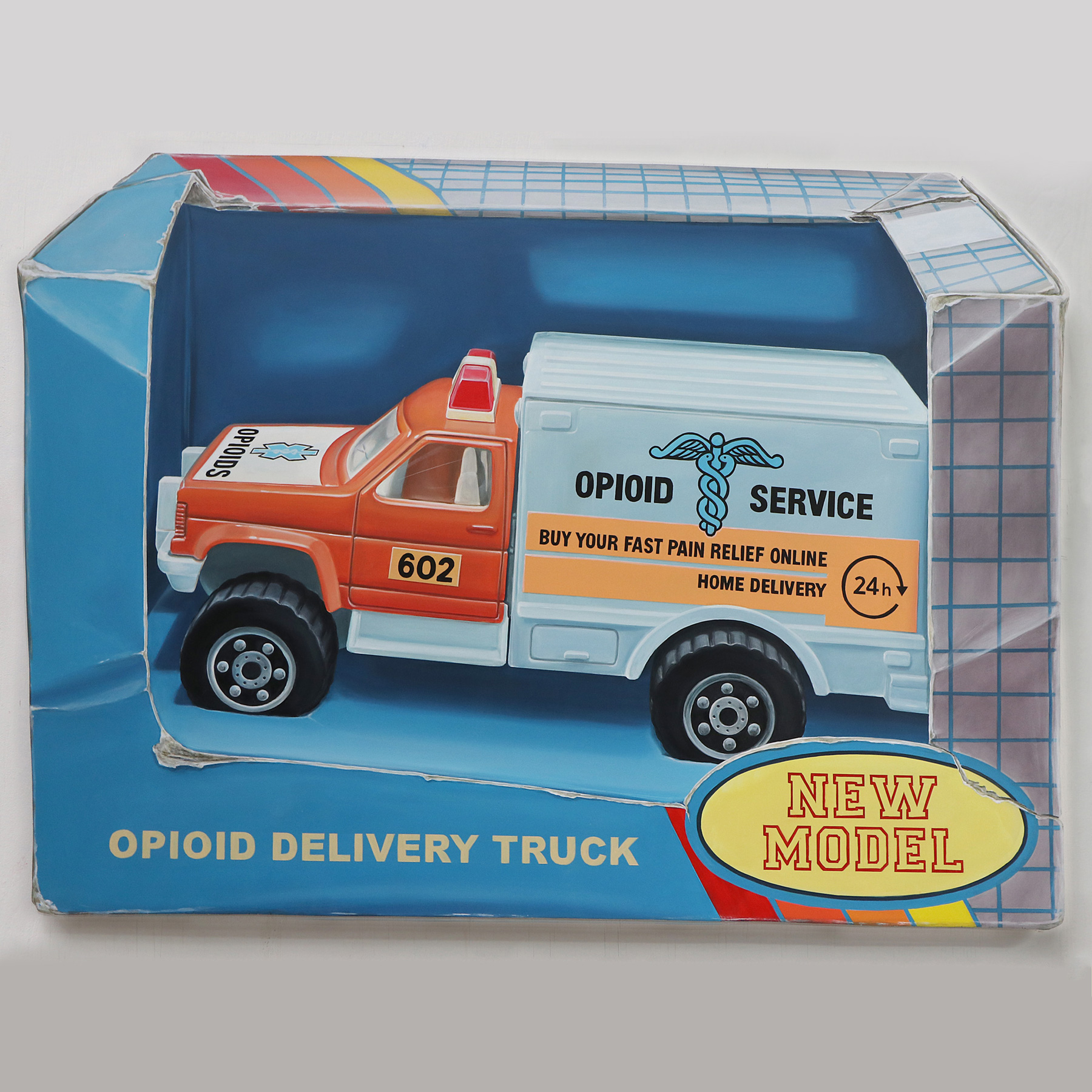 Opioid Delivery Truck painting 3d Leon Keer