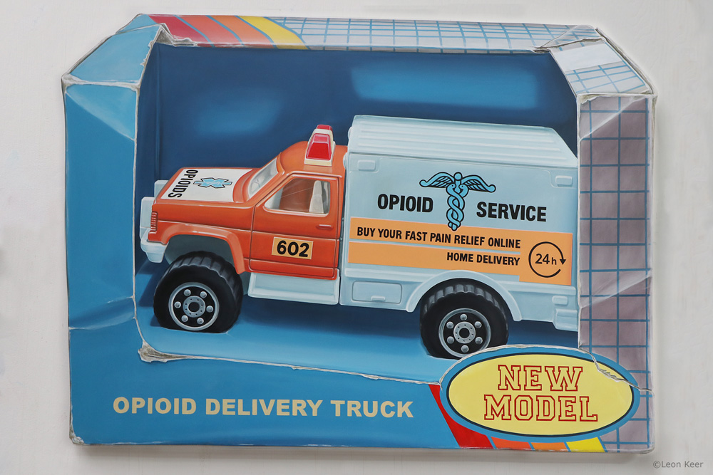 Painting 'Opioid Delivery Truck' by Leon Keer