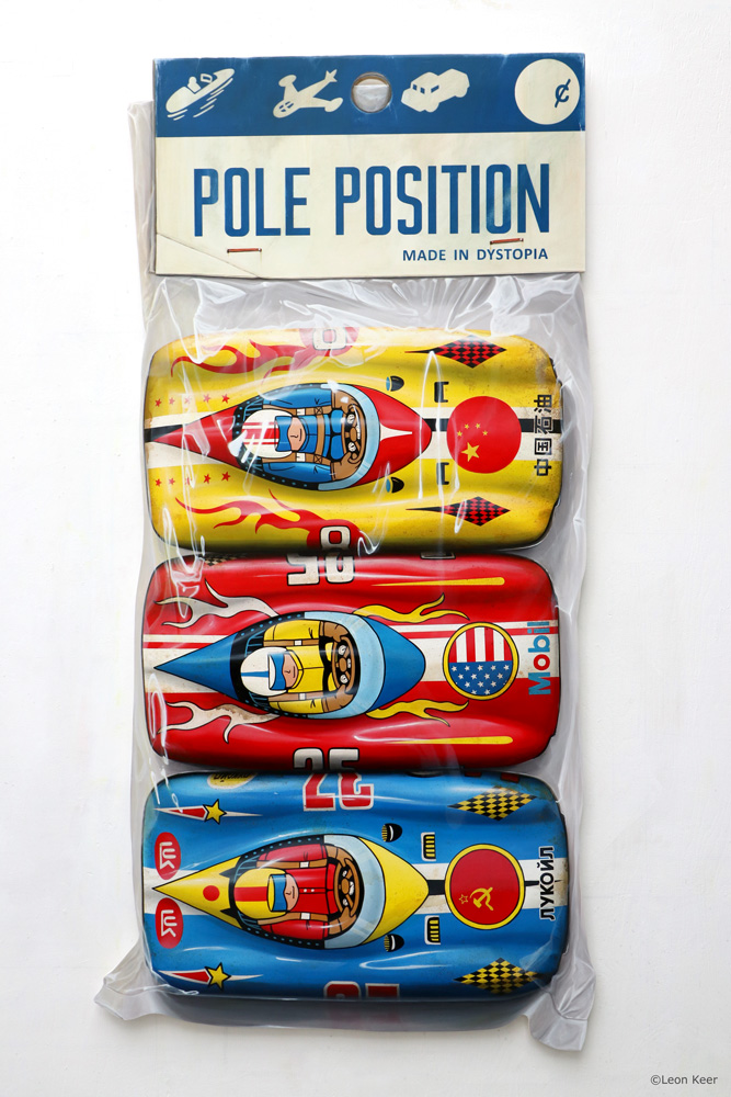 Pole position art by Leon Keer vintage race cars painting